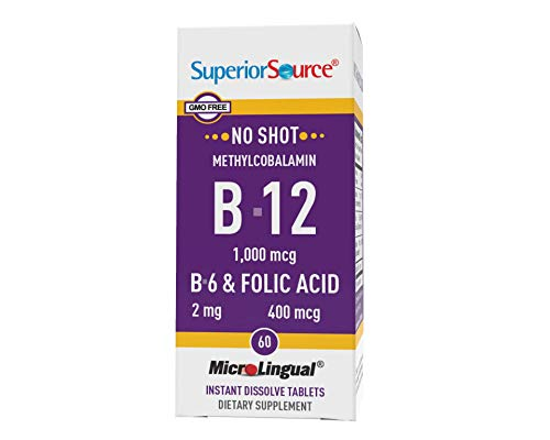 Superior Source No Shot Vitamin B12 Methylcobalamin (1000 mcg), B6, Folic Acid, Quick Dissolve Sublingual Tablets, 60 Ct, Increase Energy, Healthy Heart, Boost Metabolism, Stress Support, Non-GMO