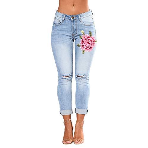 wyhweilong Las Señoras Mujer Adelgazan Los Pantalones Vaqueros Bordados de Flores de Cintura Alta S-3XL