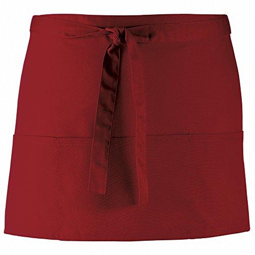 Premier- Delantal/Uniforme de trabajo con 3 bolsillos en diferentes colores para mujer (Paquete de 2) (Talla Única) (Vino)
