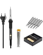 Högkvalitativa lödkolvs-kit, full uppsättning 220 V 60 W Eu plugg justerbar temperatur lödkolv med 5 st olika lödkolvspetsar, stativ, ren svamp, lödtråd