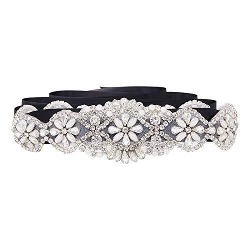 SWEETV Correas Cinturón de Diamantes Cinturones de Perla Para las Partido de la Tarde Boda Nupcial Mujeres Niñas, Negro