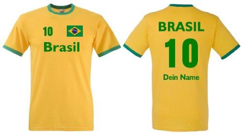 Fruit of the Loom Brasilien Herren T-Shirt Retro Trikot Wunschname & Nummer S