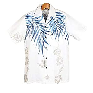 メンズアロハシャツ Winnie Fashion/Hawaiian Togs クリアホワイト/ブルーヤシの柄 ハワイ製 (US XL)