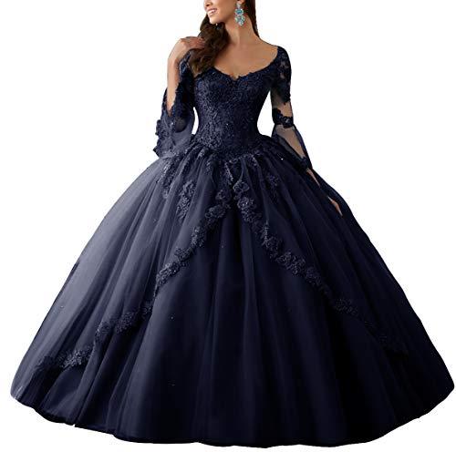 HUINI Ballkleider Lang Spitze Brautkleider Langarm Quinceanera Kleider Prinzessin V-Ausschnitt Hochzeitskleider Navy 50