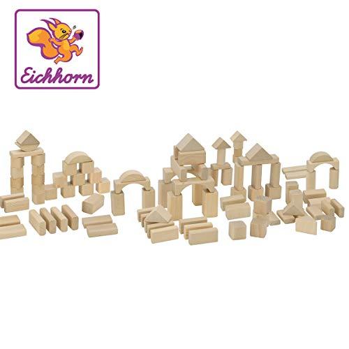 Eichhorn 100 naturfarbene Holzbausteine in der Aufbewahrungsbox mit Kordel und Sortierdeckel, für Kinder ab 1 Jahr