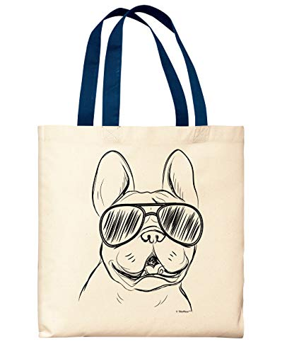 Dog Tote Bag French Bulldog Wearing Sunglasses Dog Gifts for Women Men Navy Handle Canvas Tote Bag