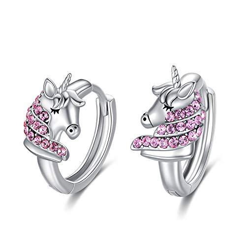 orecchini in oro bambina Orecchini Unicorno Bambini Orecchini a Cerchio in Argento Sterling 925 con Cristalli Rosa