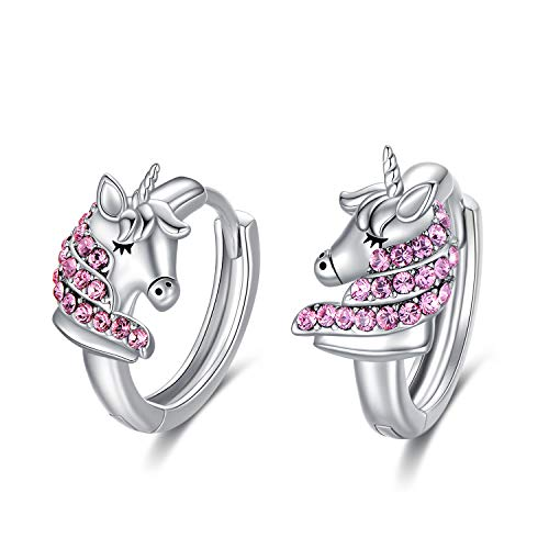 Einhorn Ohrringe Kinder Sterling Silber 925 Creolen mit Rosa Kristallen von Swarovski, Einhorn Schmuck Geburtstagsgeschenk für Mädchen Frauen