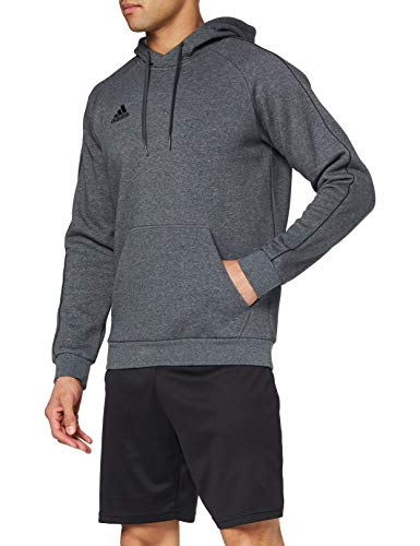 adidas Core 18 HDE, Felpa con Cappuccio Uomo, Grigio (Dark Grey Heather/Black), M