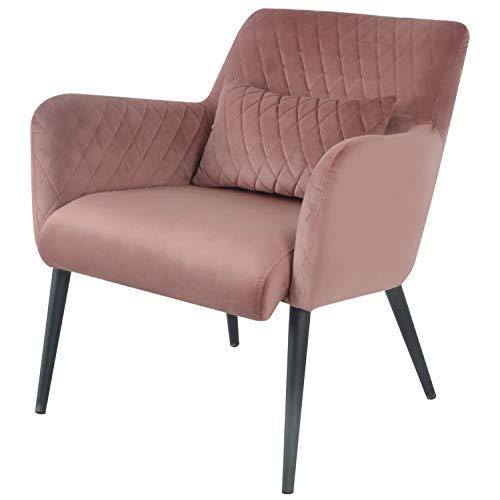 Damiware Rose Lazy Stuhl | Design Clubsessel Cocktailsessel Loungesessel Polstersessel Relaxsessel Lounge Couch Sofa mit Leder-Optik Stoffbezug | (Samt Rose)