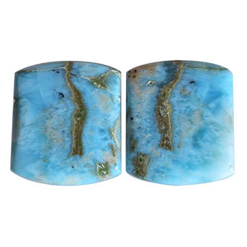 Par de piedras preciosas Larimar azul natural, cabujón, tamaño 18 x 15 x 3 mm, piedra preciosa suelta para hacer joyas 23974