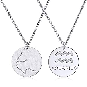 Constellation Necklace Pendant 925 Sterling Silver Round Disc Astrology Horoscope Zodiac Sign Pendant - Aquarius