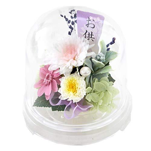 花由 お供え 仏花 プリザーブドフラワー クリアドーム アレンジメント 想花 桃ver