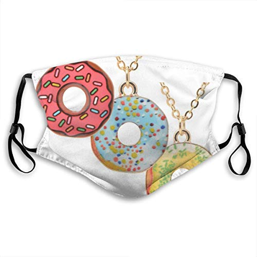PET Fabric Washable Face Covers Bandana,Fashion Design,Reusable Dust Mouth Cover,Adults and Kids,With 2 Filter,Adjustable,Doughnut Necklace