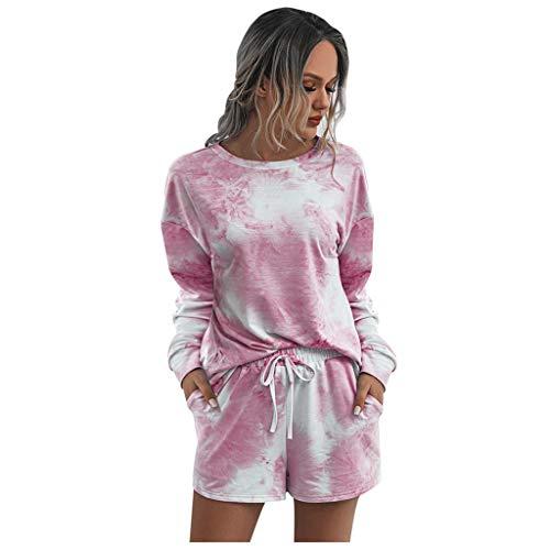 LODDD Women 2PC Tie-Dye Sweatsuit Set Long Sleeve Pullover Tops Casual Home Wear Drawstring Sweatpant Set Pink