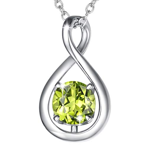 FANCIME 925 Sterling Silver August Birthstone Necklace Infinity Peridot Necklace with Beautiful Jewellery Box Christmas Birthday Valentine's Day Anniversary Present for Women Girl