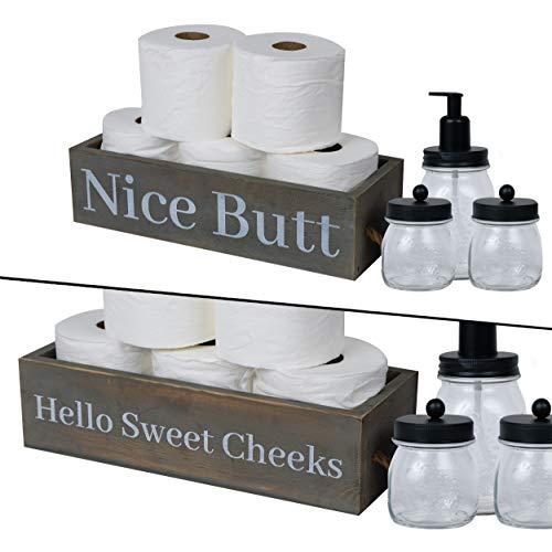 East World Bathroom Storage Box with Jar Set- Funny Toilet Paper Holder Bathroom Decor Box - Nice Butt Country Chic Toilet Decor Rustic Grey