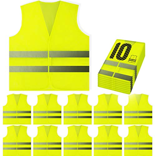 PeerBasics, 10 Pack, Yellow Reflective High Visibility Safety Vest, Hi Vis Silver Strip, Men & Women, Work, Cycling, Runner, Surveyor, Volunteer, Crossing Guard, Road, Construction, Neon (Mesh, 10