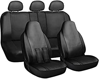 Motorup America Auto Seat Cover Full Set - Fits Select Vehicles Car Truck Van SUV - Newly Designed PU Leather - Black Beige