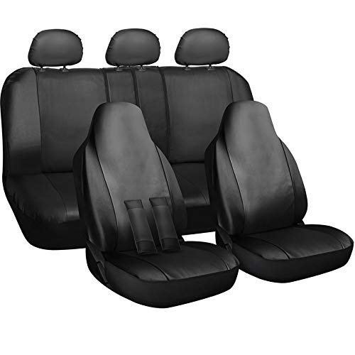Motorup America Auto Seat Cover Full Set - Fits Select Vehicles Car Truck Van SUV - Newly Designed PU Leather - Solid Black