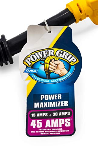 Camco Heavy Duty PowerGrip Maximizer 45 AMP Adapter - Combines Power from 15 and 30 AMP Outlets to Generate 45 AMPs Into Your RV or Camper (55025)