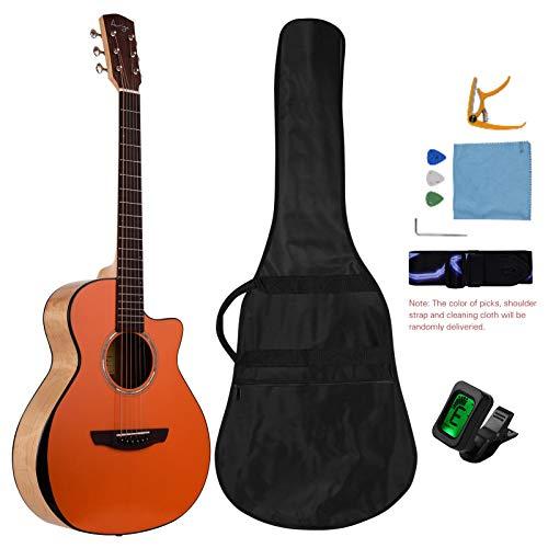 KEPOHK Guitarra folclórica con corte frontal de abeto de 36 pulgadas, 6 cuerdas, arce acústico brillante, fondo y lados, diapasón de ébano con accesorios, 36 pulgadas, naranja