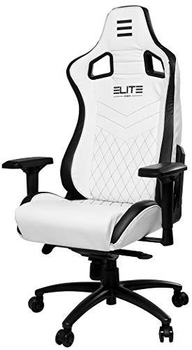 Elite Premium Gaming Chair Honor - Bürostuhl - LED Beleuchtung - Kunstleder - Ergonomisch - Racer - Drehstuhl - Stuhl - Chefsessel - Schreibtischstuhl (Weiß/Schwarz)