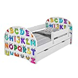 MEBLEX Children Toddler Bed for Kids White with Drawers & Safety Foam Mattress