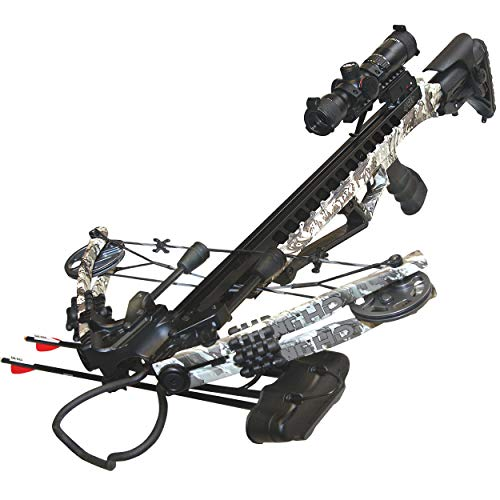 PSE ARCHERY Fang HD Crossbow Package- Up to 405 FPS- 5 Bolt Quiver- Adjustable Buttstock- w Dual String Stops- Made in USA