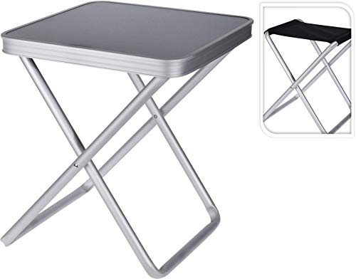 SmashingDealsDirect - Silla plegable con mesa de aluminio, portátil, para camping, picnic, para exteriores, interior, cocina, jardín, fiesta, compacto, fácil de transportar, fácil de transportar