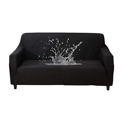 HOTNIU Wasserdichtes Stretch Sofa Schonbezug - 1-Piece Dehnbarer Stoff Couch Cover - Beflockt Muster Ausgestattet Couch Schonbezug (4-Sitzer, Schwarz)