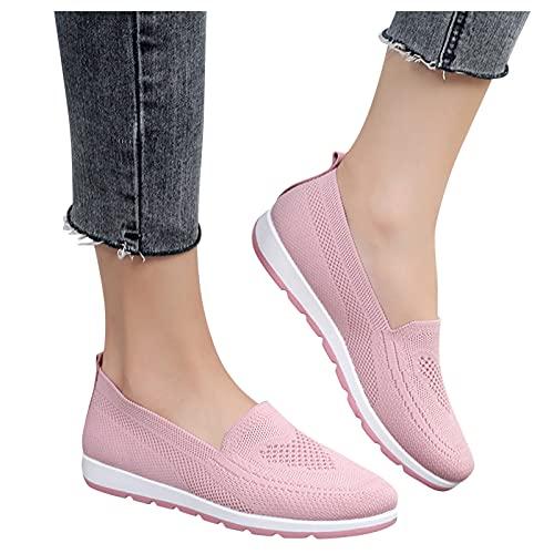 FeelFree+ Zapatos Deportivos Casuales para Mujer,Sneakers Verano Boca Baja Solos Color Sólido de Señoras Vuelan Malla para Exteriores,Zapatos Tejida Transpirables Suela Suave para Correr