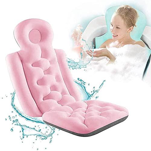 Almohada de baño , Alfombrilla de almohada para bañera de spa de cuerpo completo con 10 ventosas antideslizantes , Secado rápido, Colchón de cojín de bañera de lujo para soporte del cuello y l