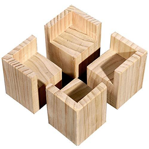 YOFASEN Muebles Pies Tazas Elevadores De Cama Paquete De 4, Elevador De Escritorio De Madera Maciza, Adecuado para Cama, Sofá Y Mesa para Niños,7X7Cm, Altura 5Cm