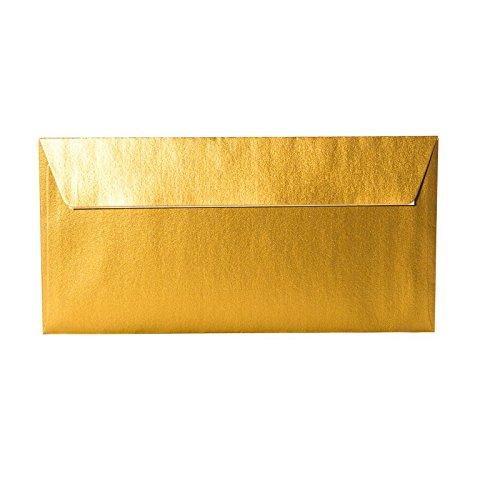 25 Briefumschläge DIN Lang - 100 g/m² - Gold Metallic - 110 x 220 mm 11 x 22 cm, selbstklebend mit Abziehstreifen