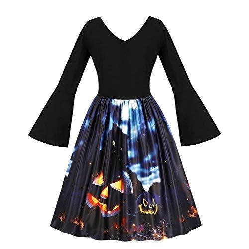 VEKDONE Vestido de Halloween para Mujer, Talla Grande, Vintage, Calabaza, Fantasma, Noche, graduación, Vestido con línea A - Negro - XXX-Large