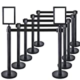 10 PCS Heavy Duty Steel Black Stanchion Post/Pole/Sign/Rope with 9.8 ft Retractable Black Belt and 2PCS Sign Holder Portrait Frame |Safety Locking Belt | 4-Way Connect | Crowd Control Barrier
