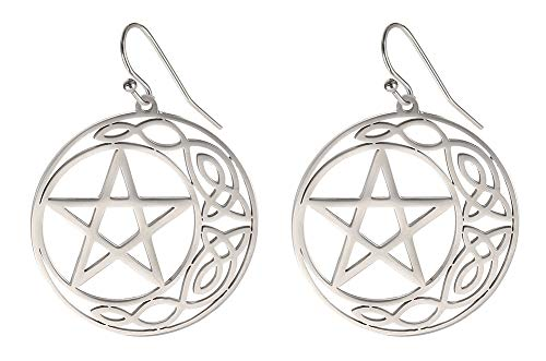cooltime Stainless Steel Pentacle Dangle Drop Earrings Pentagram Celtic Knot Star Circle Crescent Charm Jewelry for Women (Silver Style 1)