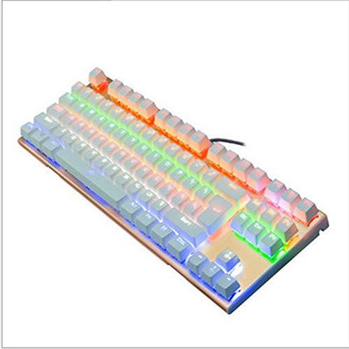 ZXGHS Teclado Mecánico De 87 Teclas, Teclado para Juegos con Retroiluminación LED, Teclado De Inyección De Dos Colores Y Línea De Protección De Manguera De PU De Doble Tubo, Adecuado para Cibercafés