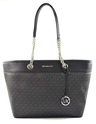 """Made of MK logo PVC with Saffiano leather trims and straps Light weight and spacious Top zip closure Inside 1 zip pocket and 2 slip pockets 15""""L x 10.5""""H x 5.5""""D"""
