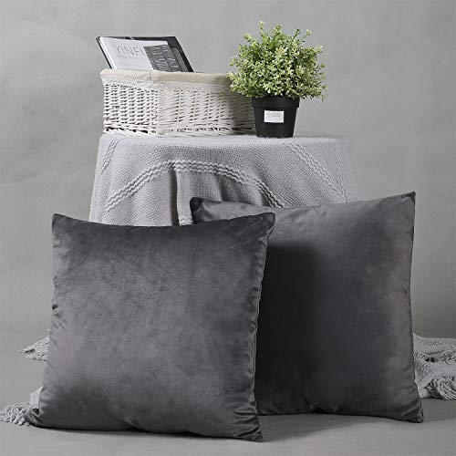 YINFUNG Velvet Cushion Covers Grey Charcoal 18x18 Accent Bed Cozy Soft Decorative Couch Toss Throw Pillow Cover Dark Grey Sofa Living Room 2 Set