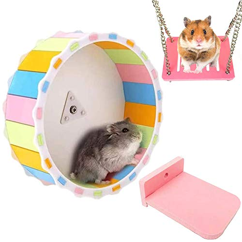 Hamster Wheel, MXiiXM Silent Exercise Running Wheel with Platfrom and Swing, Hamster Toys for Chinchilla Hedgehog Hamster, 6.69 Inches in Diameter