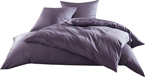 Mako-Satin Baumwollsatin Bettwäsche Uni einfarbig zum Kombinieren (Bettbezug 135 cm x 200 cm, Lila)