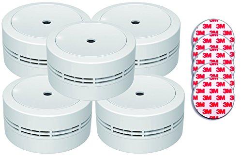 Jeising Rauchmelder 5 er Set Mini GS535 weiß mit Magnetklebebepad Magnetbefestigung 10 Jahres Lithium Batterie - VDs geprüft EN14604 Komfort Funktionsprüfung mit Stummschaltung