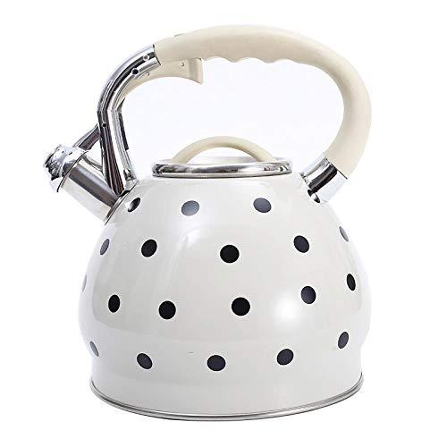 Tetera de 3.5L Tetera de acero inoxidable Hervidor de agua Estufa de gas Cocina de metal Hervidor de agua de olla Cocina de inducción Bouilloire, blanco
