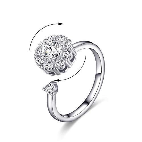 AoedeJ Women Rotating Cubic Zirconia Wedding Rings Spinning Band Diamond Rings Warp Open Adjustable Rings (White-Gold)
