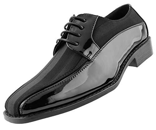 Amali Avant Men s Oxford Dress Shoes - Shiny Patent Modern Formal Dress Shoes for Men with Satin Stripes - Designer Formal Shoes with Lace Tie (Black/11)