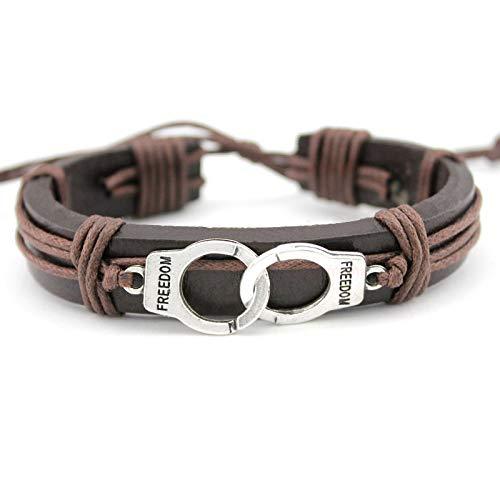 Damen Lederarmband,Vintage Leder Geflochten Armreifen Metall Handschellen Gewebe Verstellbare Braun Charme Bracelets Persönlichkeit Weihnachten Gravur Geschenk Für Männer Jungen Frauen