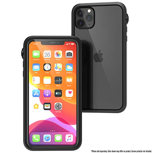 Funda Impermeable para iPhone 11 Pro MAX con Correa, Parte Posterior Transparente, Calidad Militar estándar, Impermeable 10m, protección contra caídas 2 m, película Protectora de Pantalla - Negro