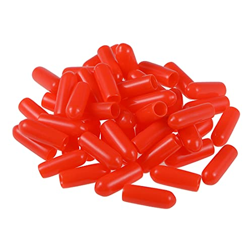 uxcell 50pcs Rubber End Caps 3.5mm ID Vinyl Round Tube Bolt Cap Cover Screw Thread Protectors Red